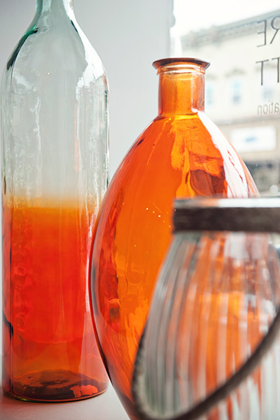 glass jars in window