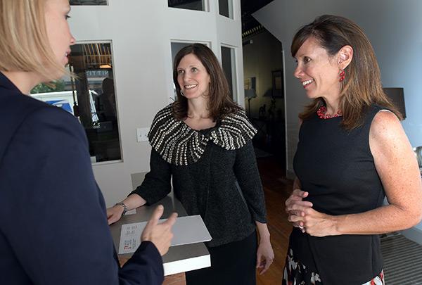 Sarah Prescott, Julie Porter, Jennifer Salvatore in hallway conversation.